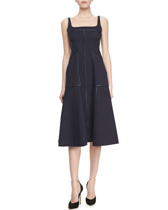 Tea-Length Square-Neck Piped Dress