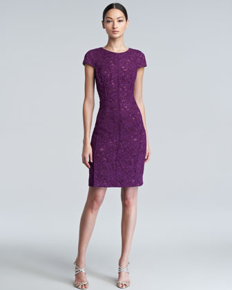 Crewneck Bonded Lace Dress