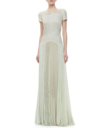 Short-Sleeve Embroidered Pleated Gown, Waterlily