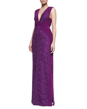 Sleeveless Gown with Pin-Tucked Chiffon and Lace, Viola