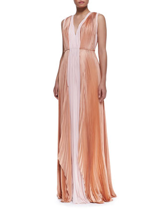 Sleeveless Silk Bicolor Gown