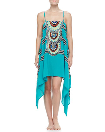 Placement Coverup Dress, Aqua