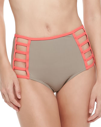 Cutout High-Waist Swim Bottom