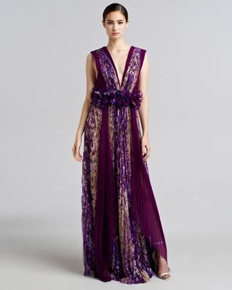 Floral-Print Plisse Silk Gown