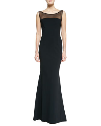 Sleeveless Illusion Boat-Neck Mermaid Gown