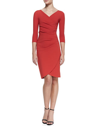 3/4-Sleeve Faux Wrap Cocktail Dress, Paprika 403