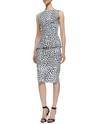 Samantha Print Sleeveless Peplum Dress, Leopard Optical