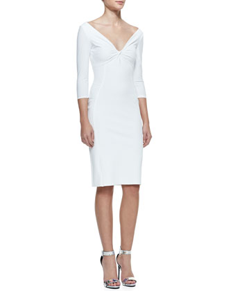 3/4-Sleeve Twist Top Cocktail Dress, 070 Bianco