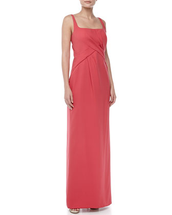 Sleeveless Bias-Front Silk Gown, Strawberry