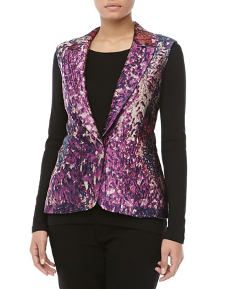 Sleeveless Tailored Jacquard Blazer