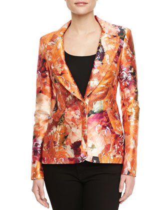 Mikado Tiger Lily-Print Tailored Blazer