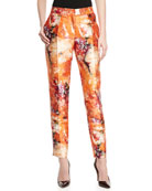 Mikado Tiger Lily-Print Tailored Pants