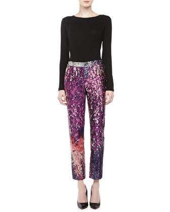 Jacquard Ankle Pants, Blackberry