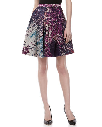 Box-Pleated A-line Skirt, Blackberry