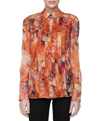 Printed & Pleated Chiffon Blouse