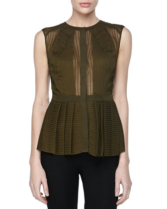 Sleeveless Pintucked Peplum Top, Cypress
