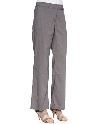 Linen-Blend Straight-Leg Trousers