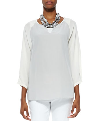 3/4-Sleeve Silk Colorblock Top, Silver/Bone