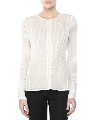 Long-Sleeve Silk Top