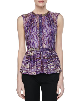 Printed Pintucked Peplum Top, Wisteria