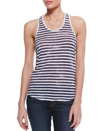 Striped Linen Tank with Silk Trim