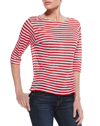 Striped-Linen Three-Quarter Sleeve Tee