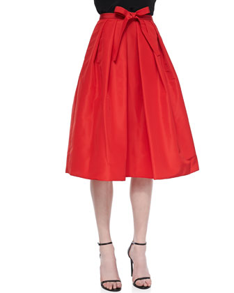 Silk Pleated Self-Tie Skirt
