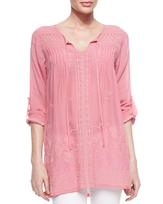 Lacy Yoke Tie-Neck Top, Flamingo