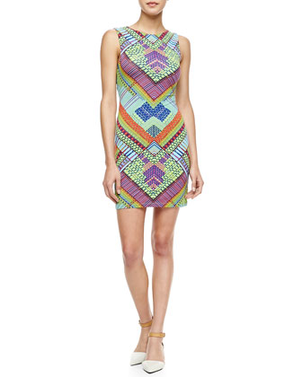 Printed Jersey Peekaboo-Back Mini Dress