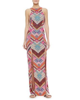 Printed Maxi Dress with High Slits
