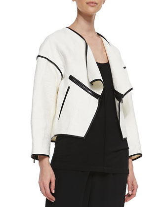 Faux-Leather Trim Open Jacket, Slub Knit Tank & Pleated Crepe Trousers