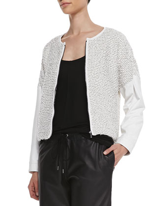 Knotted Leather-Sleeve Jacket