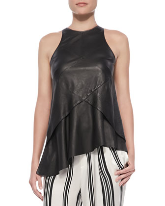 Seamed Leather Shell with Ruffle, Black