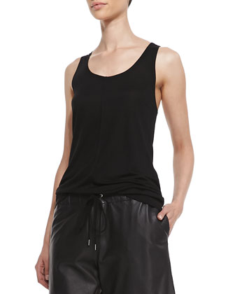 Knotted Leather-Sleeve Jacket, Slub Knit Tank & Long Leather Boxer Shorts