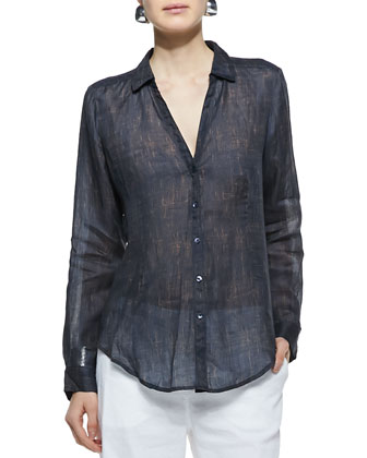 Printed Sheer Button-Front Shirt