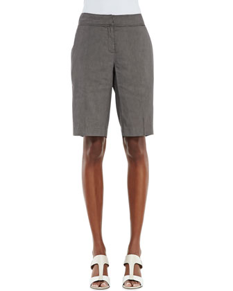 Linen-Blend Walking Shorts