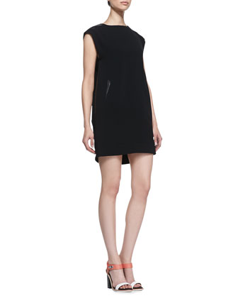 Nevis Leather-Trim Shift Dress