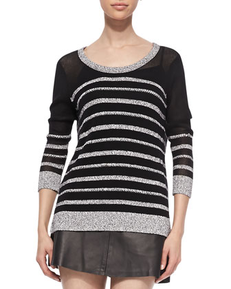 Azra Striped Knit Pullover & Florencia Lambskin Skirt