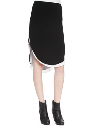 Talia Plunging V-Neck Ribbed Sweater & Ashlee Curved High-Low Hem Skirt