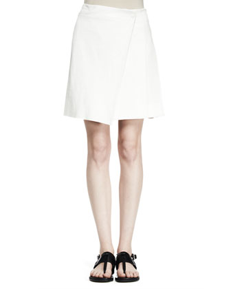 Edburg Asymmetric Leather-Combo Wrap Skirt
