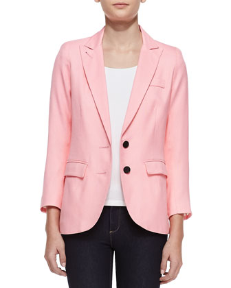 Bright Crepe Boyfriend Blazer, Flamingo