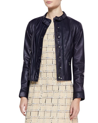 Sandra Leather Snap Jacket and Evie Cap-Sleeve Grid Dress