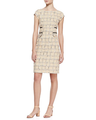 Evie Cap-Sleeve Grid Dress