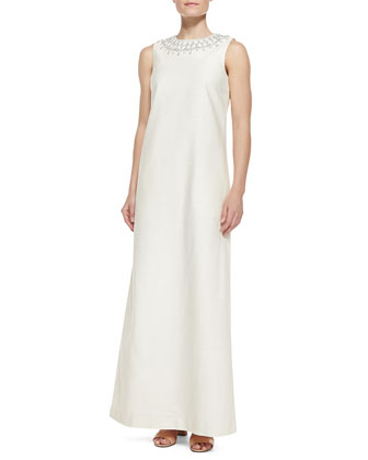 Julia Embellished-Neck Long Dress