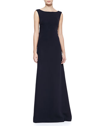 Annette Boat-Neck Silk Gown