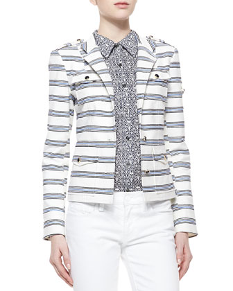 Striped Sergeant Pepper Jacket, Ivory/Blue