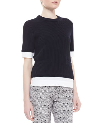 Rosemary Twofer 3/4-Sleeve Sweater, Navy/White