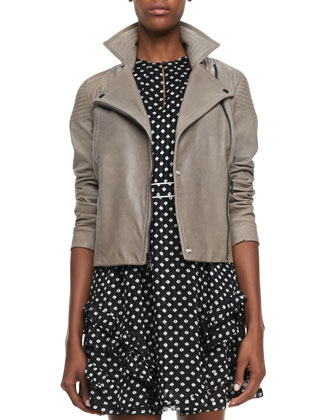 Karlie Leather Moto Jacket & Diamond-Print Ruffled Dress
