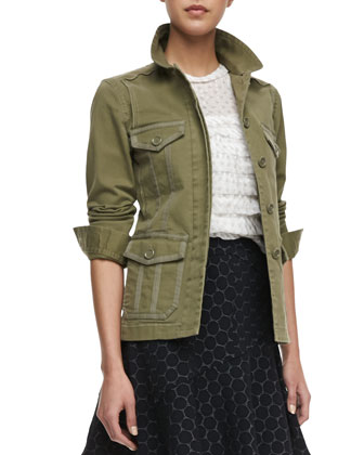 Zeta Twill Utility Jacket, Diamond-Pattern Tiered Top & Leyna Dotted Flared ...