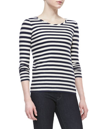 Zeta Twill 3/4-Sleeve Coat & Pam Stripe-Jersey Long-Sleeve Tee & Stick ...